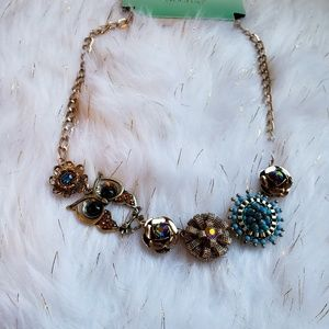 New owl and flowers statement necklace